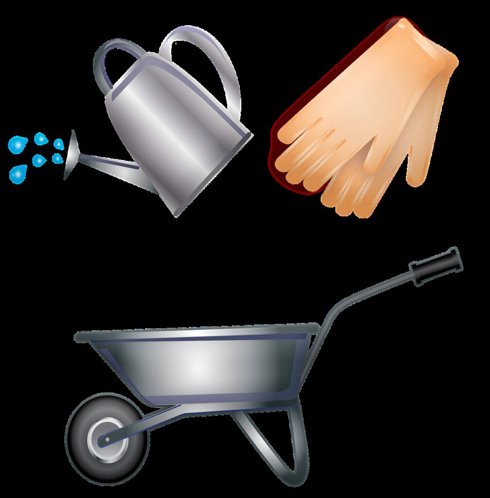 garden tools, gloves, gardening